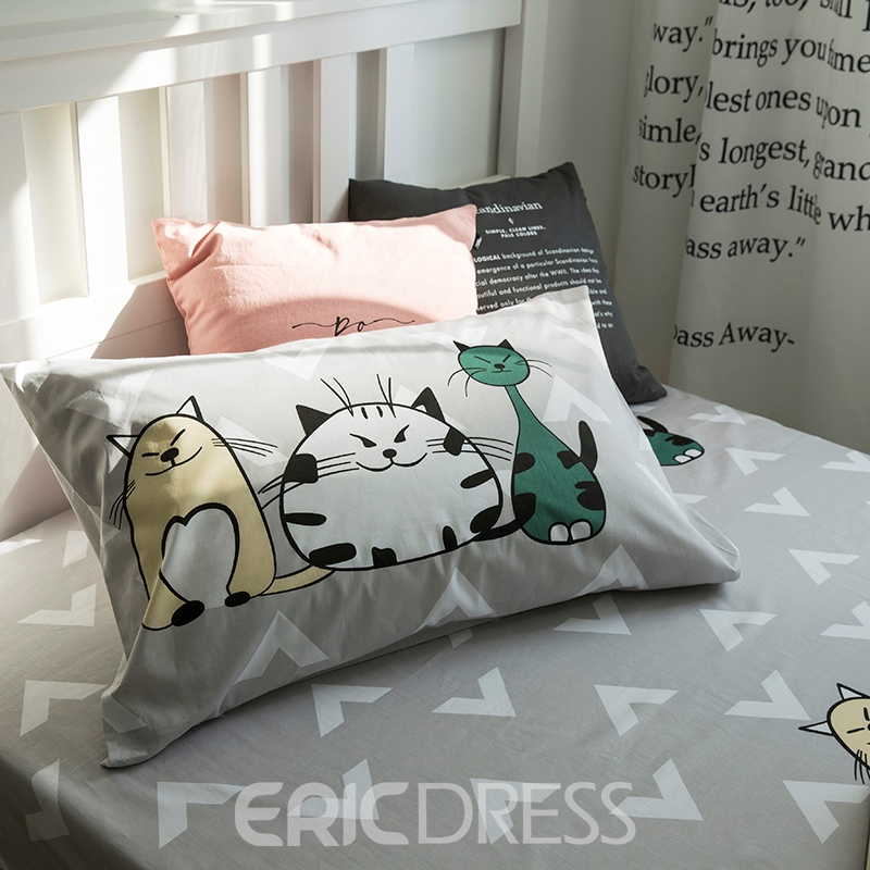 Vivilinen Cartoon Animals Printed Cotton 3-Piece Duvet Covers/Bedding Sets