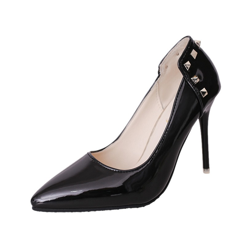 Ericdress Rivet Pointed Toe Slip-On Stiletto Heel Pumps
