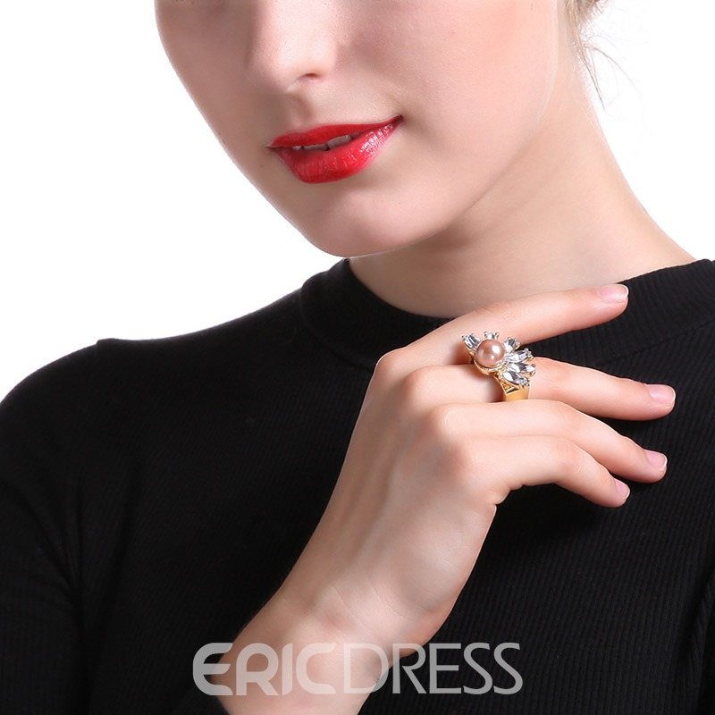 Accshine High-End Pearl 24K Gold Plating Ring for Women