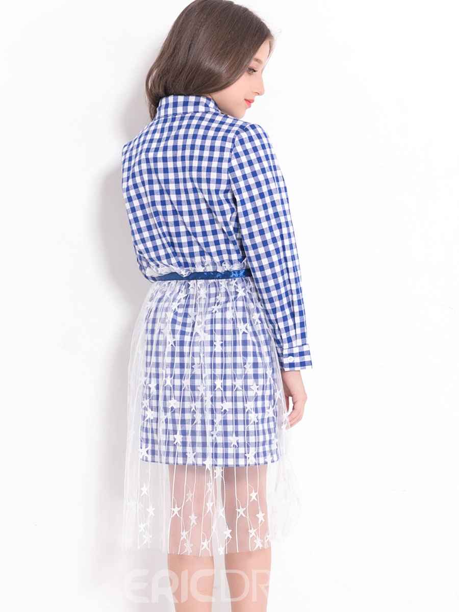 Ericdress Plaid Button-Front Notched Collar Shirt With Transparent Star Skirt