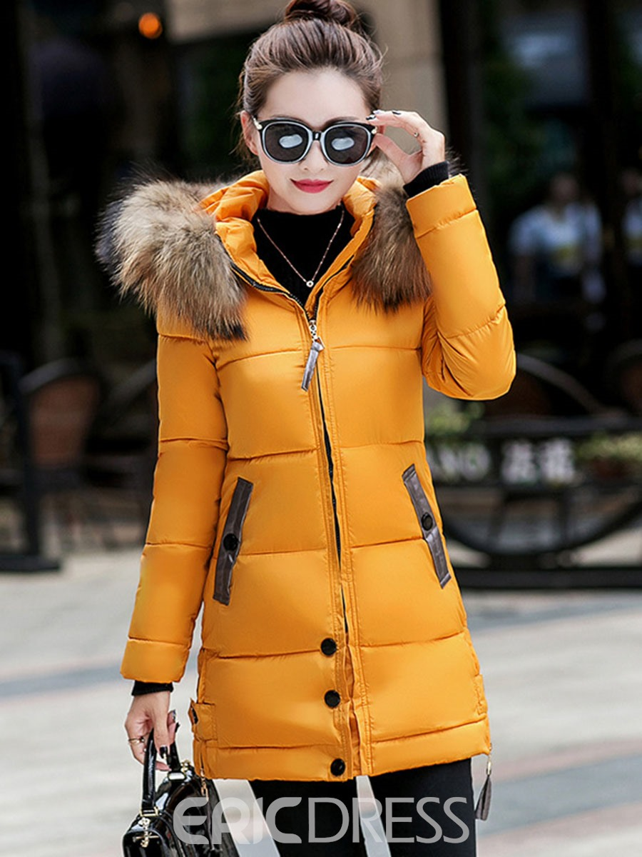 Ericdress Plain Mid-Length Fur Collar Down Coat