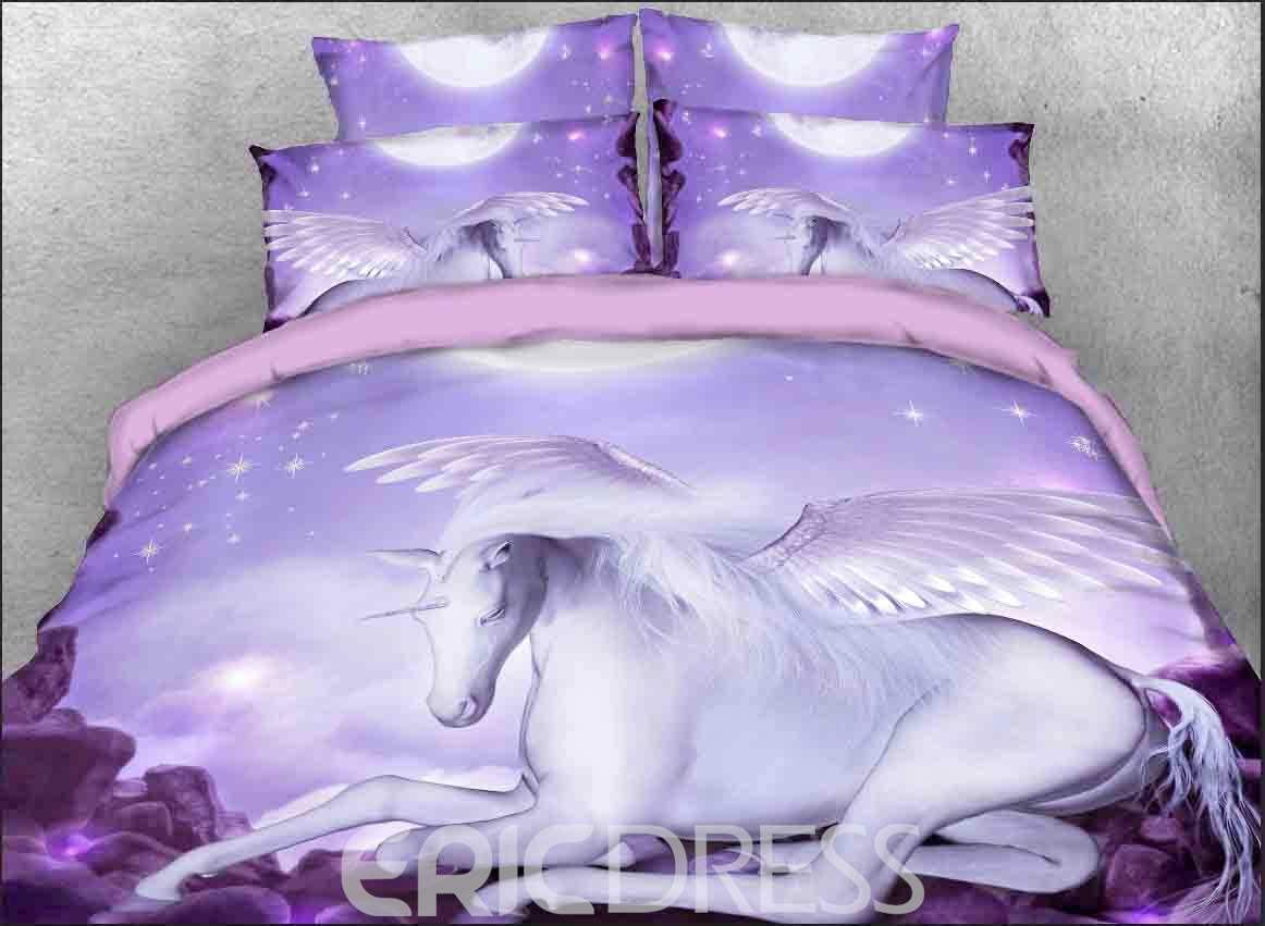 White Unicorn with Wings Printed 4-Piece 3D Purple Bedding Sets/Duvet Covers