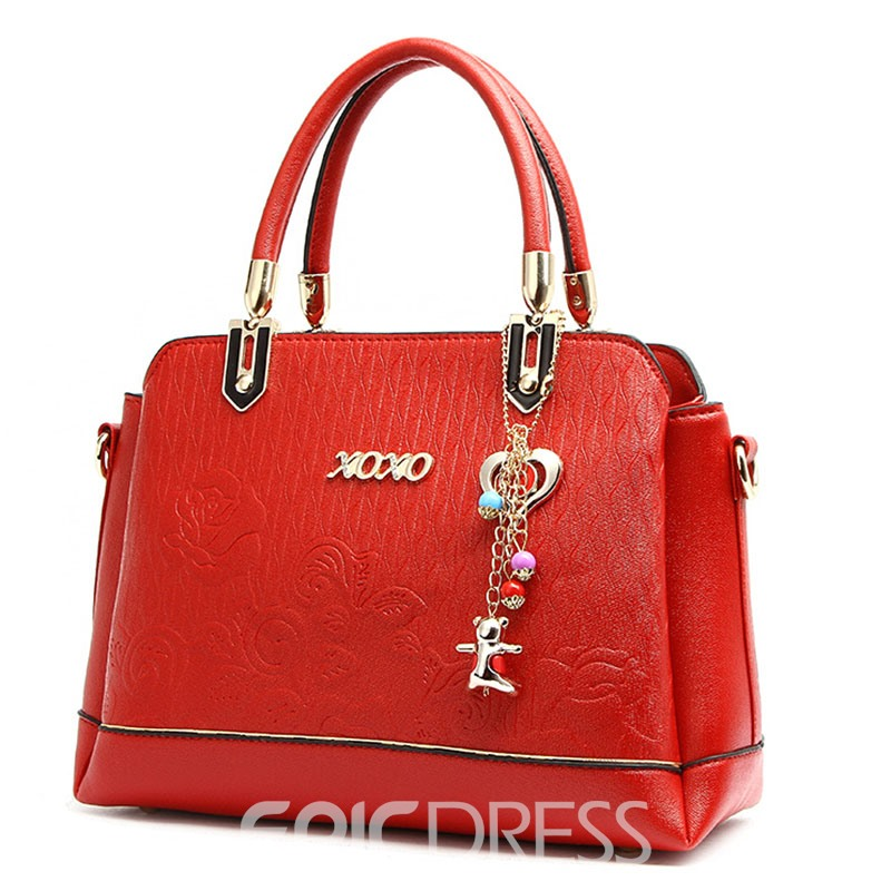 Ericdress Exquisite Pendant Embossing Zipper Handbag