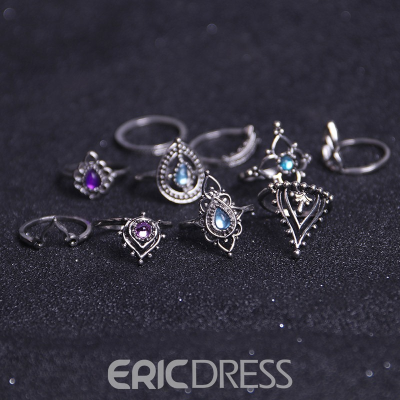 Ericdress Amazing Shinning Hollow Out Carving 7-Piece Ring