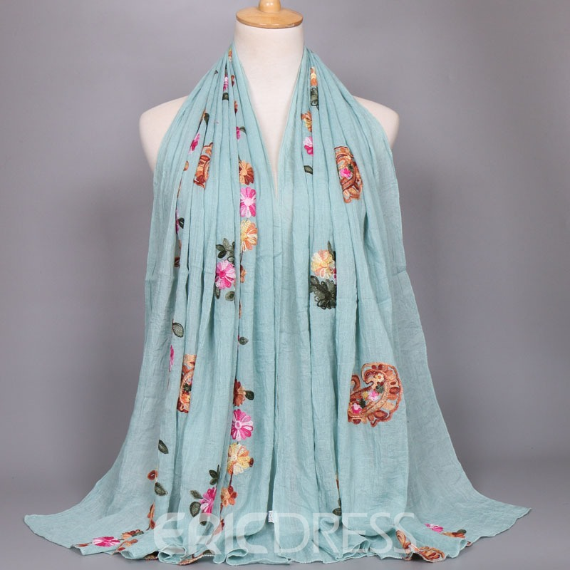 Ericdress New Style Embroidery Cotton Flower Printed Scarf