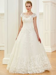Ericdress Scoop Cap Sleeves Ball Gown Appliques Wedding Dress