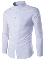 Ericdress Simple Plain Stand Collar Long Sleeve Mens Shirt
