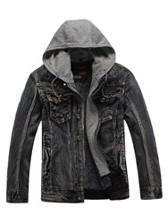Ericdress Patched Thick Winter Hooded Mens Small Size Denim Jacket фото