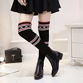Ericdress Geometric Stripe Patchwork Women's Sock Boots