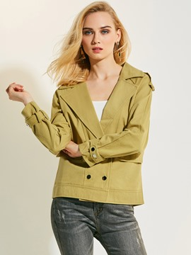 Ericdress Notched Lapel Double-Breasted Plain Coat