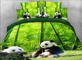Vivilinen 3D Panda Eating Bamboo Printed Cotton 4-Piece Bedding Sets/Duvet Covers