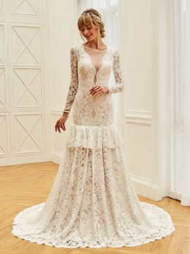 Ericdress Backless Mermaid Lace Long Sleeves Wedding Dress