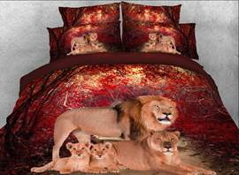Lion Family Printed Cotton 4-Piece 3D Bedding Sets/Duvet Covers