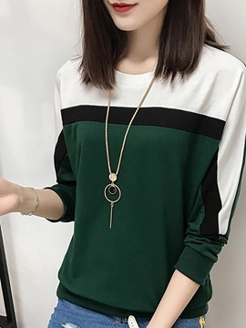 Ericdress Loose Color Block Patchwork T-shirt