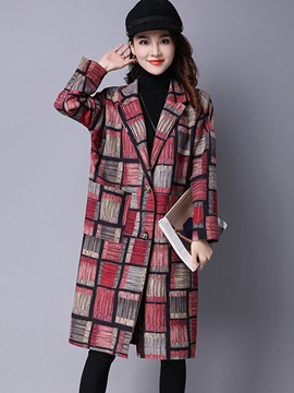 Ericdress Loose Mid-Length Plaid Trench Coat