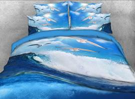 Rolling Ocean Waves and Seagulls Printed 3D 4-Piece Bedding Sets/Duvet Covers