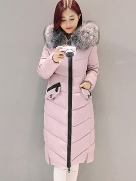 Ericdress Zipper Mid-Length Fur Collar Down Coat