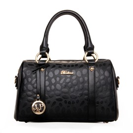 Ericdress Stone-Embossed Solid Color Boston Handbag