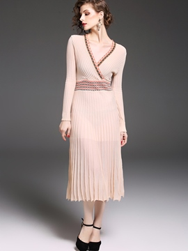 Ericdress V-Neck Pullover Pleated Sweater Dress