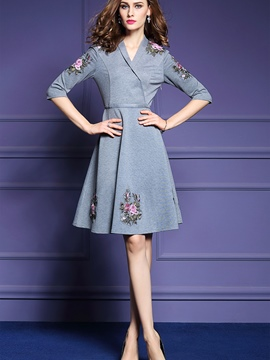 Ericdress V-Neck Half Sleeves Embroidery A Line Dress