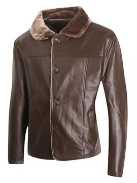 Ericdress Single-Breasted Flocking Warm PU Men's Jacket