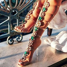 Ericdress Rhinestone Strappy High Shaft Stiletto Sandals
