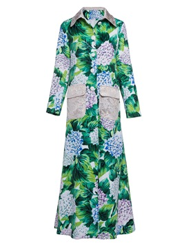 Ericdress A Line Polo Neck Plant Floral Coat