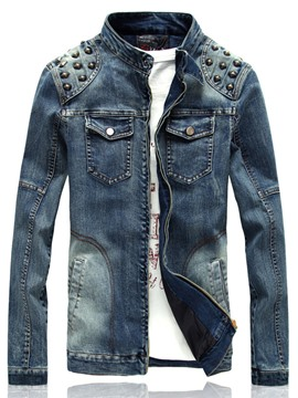 Ericdress Stand Collar Zip Rivet Denim Casual Men's Jacket