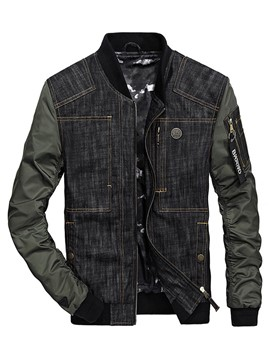 Ericdress Stand Collar Denim Vogue Casual Men's Jacket