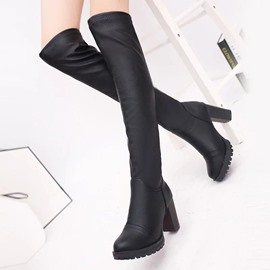 Ericdress Fashion Plain Chunky Heel Knee High Boots