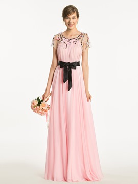 Ericdress Scoop Short Sleeves A Line Beaded Long Bridesmaid Dress