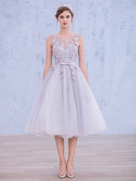 Ericdress A-Line Scoop Bowknot Flowers Pearls Tea-Length Prom Dress