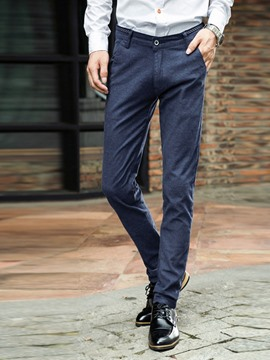 Ericdress Mid-Waist Business Straight Slim Men's Pants