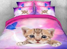 Vivilinen Kitten Face and Blue Butterfly Printed 3D 4-Piece Bedding Sets/Duvet Covers