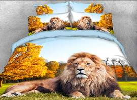 Crouching Lion in the Forest Printed 4-Piece 3D Bedding Sets/Duvet Covers