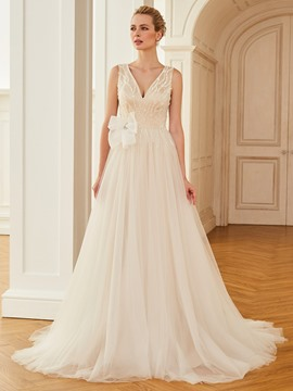 Ericdress V Neck A Line Tulle Color Wedding Dress