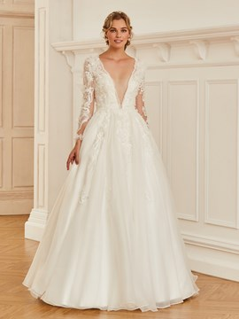 Ericdress V Neck Long Sleeves Ball Gown Wedding Dress