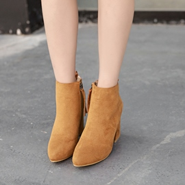 Ericdress Round Toe Plain Side Zipper Chunky Heel Boots