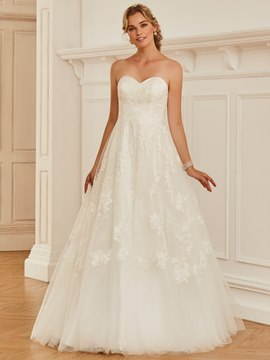 Ericdress Sweetheart Appliques Ball Gown Tulle Wedding Dress