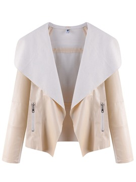 Ericdress Loose Plain Lapel PU Jacket