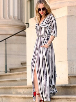 Ericdess V-Neck Stiped With Side Slit Maxi Dress
