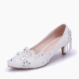 Ericdres Tassel Rhinestone Plain Slip-On Wedding Shoes With Beads
