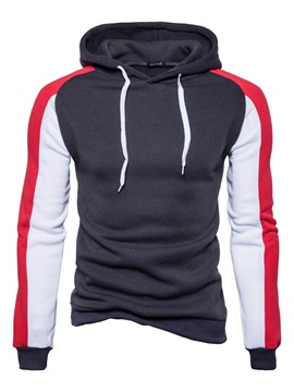 Ericdress Lace-Up Hooded Color Block Men's Pullover Hoodie