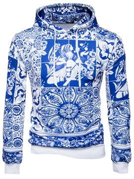 Ericdress Hooded Lace-Up Long Sleeve Men's Pullover Hoodie