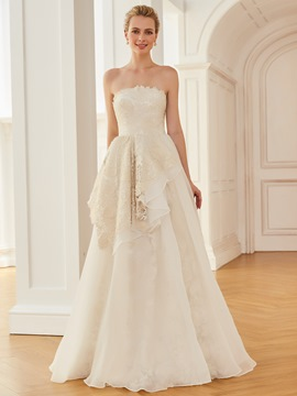 Ericdress Strapless A Line Lace Floor Length Wedding Dress