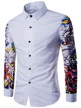 Ericdress Print Color Block Lapel Long Sleeve Men's Shirt