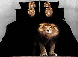 Vivilinen 3D Standing Lion Printed Cotton 4-Piece Black Bedding Sets/Duvet Covers