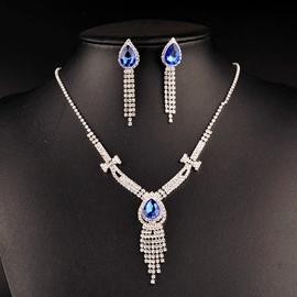 Ericdress Stunning Blue Sapphire Two-Piece Bridal Jewelry Set
