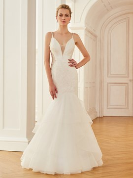 Ericdress Sexy Spaghetti Straps Mermaid Appliques Wedding Dress