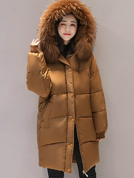 Ericdress Plain Fur Collar Hooded Down Coat